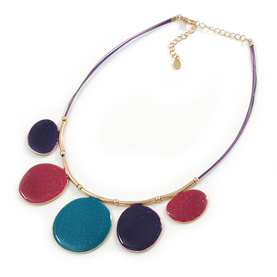 Purple/ Teal/ Pink Enamel Circle  Wire Cord Necklace In Gold Tone - 40cm L/ 7cm Ext