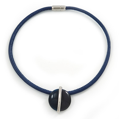 Dark Blue Round Enamel Pendant with Leather Cord with Magnetic Closure - 43cm L