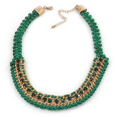 Grass Green Woven Silk Cord Emerald Green Crystal with Gold Chain Necklace - 42cm L/ 8cm Ext