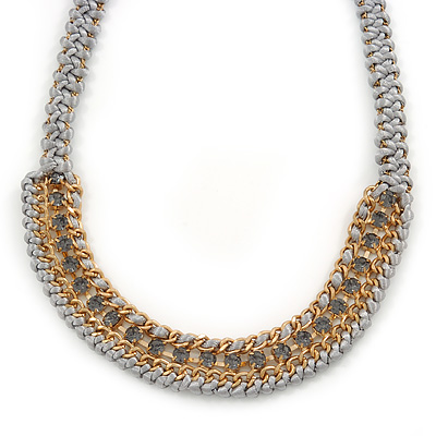 Light Grey Woven Silk Cord Emerald Green Crystal with Gold Chain Necklace - 42cm L/ 8cm Ext