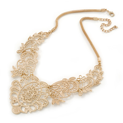Statement Filigree V Shape Necklace In Gold Tone Metal - 46cm L/ 8cm Ext