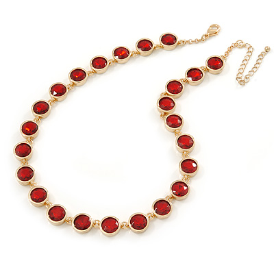 Statement Bezel Set Red Glass Bead Necklace In Gold Plating - 44cm L/ 7cm Ext