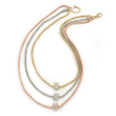 3 Strand Mesh Layered Necklace with Crystal Rings In Gold/ Rose Gold/ Silver Tone - 54cm L/ 4cm Ext - main view
