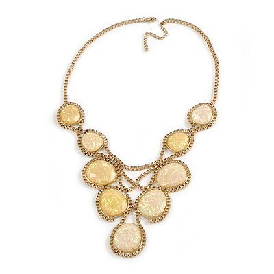 Vintage Inspired Statement V-Shape Structural Iridescent Glass Bead Necklace In Gold Tone - 48cm L/ 5cm Ext/ 10cm Bib