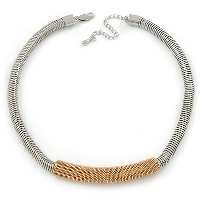 Silver Tone Thick Snake Chain With Gold Tone Textured Tubular Pendant Necklace - 43cm L/ 7 Ext