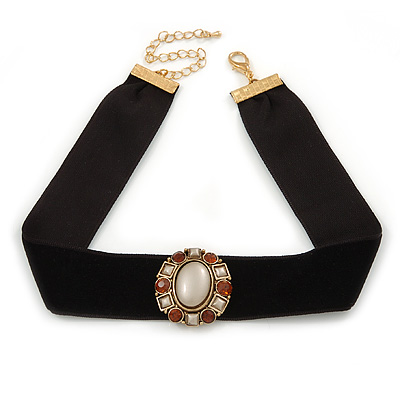 Black Velour Ribbon with Crystal Oval Pendant Choker Necklace In Gold Plating - 32cm L/ 7cm Ext