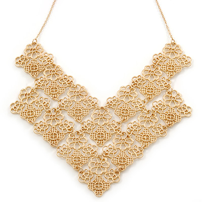 Lacy Style Bib Necklace in Brushed Gold Metal - 38cm L/ 7cm Ext