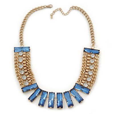 Statement Blue/ Clear Acrylic Bead Chunky Chain Necklace In Gold Tone Metal - 52cm L/ 7cm Ext