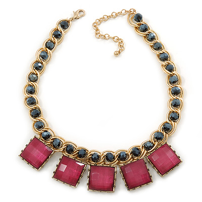 Statement Square Raspberry Pink Glass Station, Black Glass Bead With Gold Tone Chunky Chain Necklace - 44cm L/ 9cm Ext - main view
