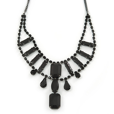 Victorian Style Black Glass Stone Necklace In Black Tone Metal  - 38cm L/ 8cm Ext