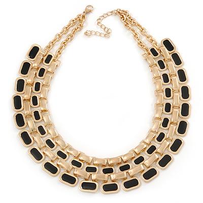 Gold Plated Black Enamel Collar Necklace - 42cm L/ 7cm Ext