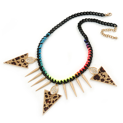 Statement Triangular Charm Black Chunky Chain With Multicoloured Silky Rope Necklace - 54cm L/ 7cm Ext