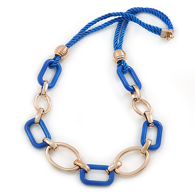 Blue/ Gold Oval, Square Acrylic Link, Silk Cord Necklace - 74cm L