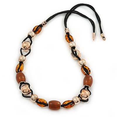 Long Brown, Gold Acrylic Bead Black Silk Cotton Cord Necklace - 88cm L - main view