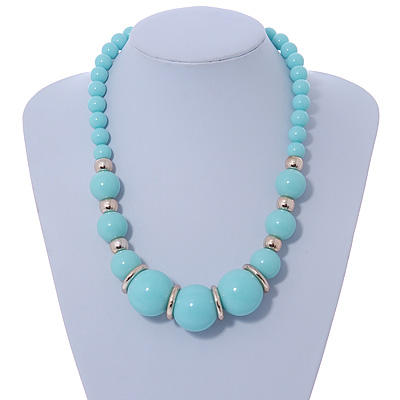 Chunky Mint Green Graduated Acrylic Bead with Gold Rings Flex Necklace - 50cm L