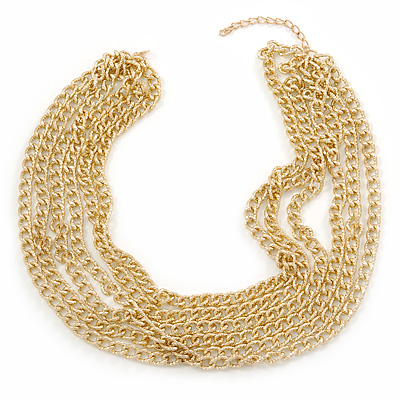 Gold Tone Multistrand Textured Oval Link Necklace - 45mm L/ 5cm Ext