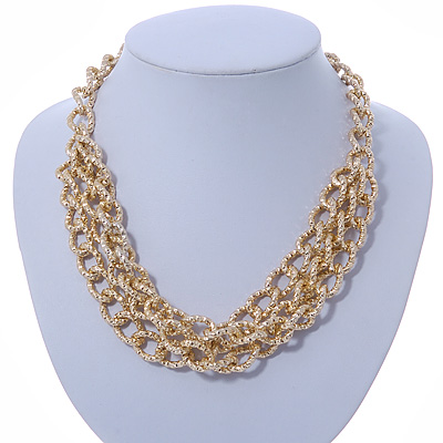 45mm L// 5cm Ext Gold Tone Multistrand Textured Oval Link Necklace