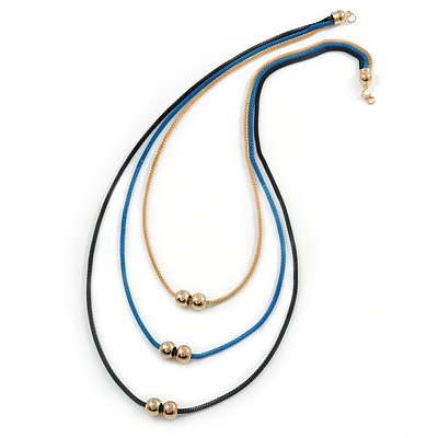 3 Strand, Beaded, Layered Mesh Chain Necklace In Black/ Blue/ Gold Tone - 86cm L