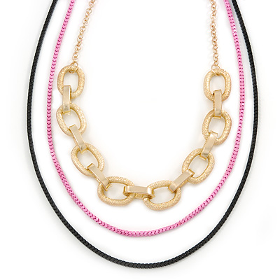 3 Strand, Layered Oval Link, Box Style Chain Necklace In Black/ Pink/ Gold Tone - 86cm L