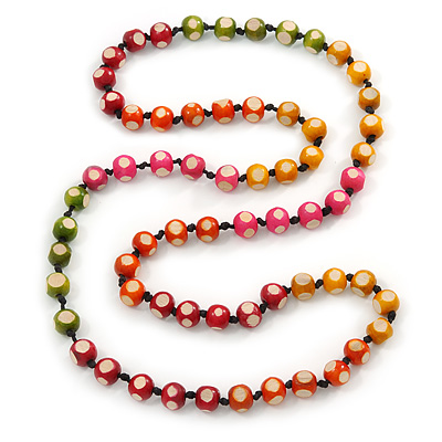 Long Multicoloured Round Bead Necklace - 114cm L