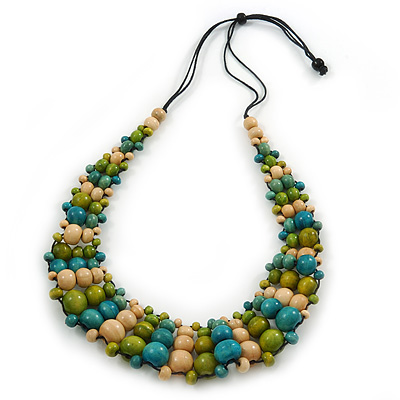 Olive/ Teal/ Beige Wooden Bead Black Cord Necklace - 70cm L - main view