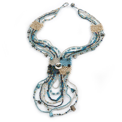 Light Blue/ Antique White/ Peacock Glass Bead Tassel Necklace with Button and Loop Closure - 44cm L (Necklace)/ 17cm L (Tassel)50