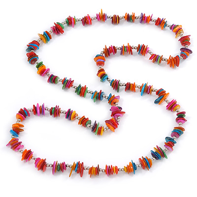 Long Multicoloured Sea Shell Nugget Necklace - 98cm L - main view