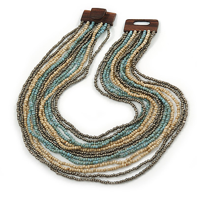 Antique White/ Metallic Grey/ Light Blue Glass Bead Multistrand, Layered Necklace With Wooden Square Closure - 56cm L