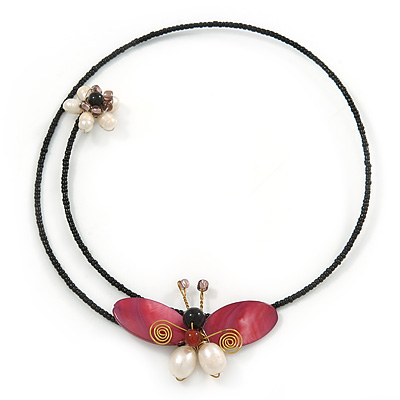 Shell Butterfly and Freshwater Pearl Flower Flex Wire Choker Necklace - Adjustable - main view