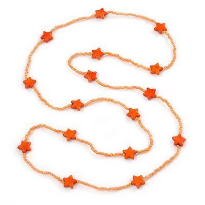 Long Orange Glass Bead, Ceramic Star Necklace - 106cm L