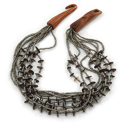 Ethnic Multistrand Metallic Grey, Black Glass Necklace With Wood Hook Closure - 50cm L