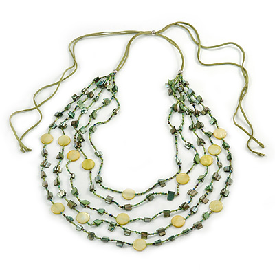 Long Multistrand, Layered Green, Olive Sea Shell Bead Necklace with Suede Cord - Adjustable - 72cm/ 110cm L