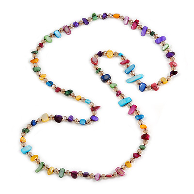 Long Multicoloured Shell Nugget and Glass Crystal Bead Necklace - 110cm L - main view