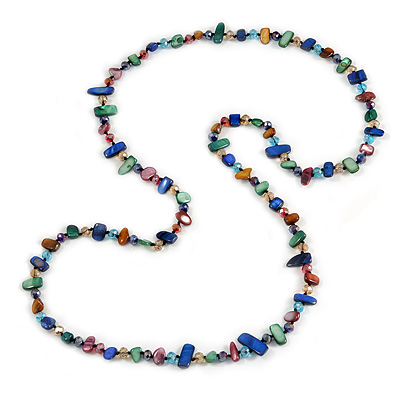 Long Multicoloured Shell Nugget and Glass Crystal Bead Necklace - 120cm L - main view