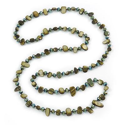 Long Olive Green Shell Nugget and Glass Crystal Bead Necklace - 110cm L