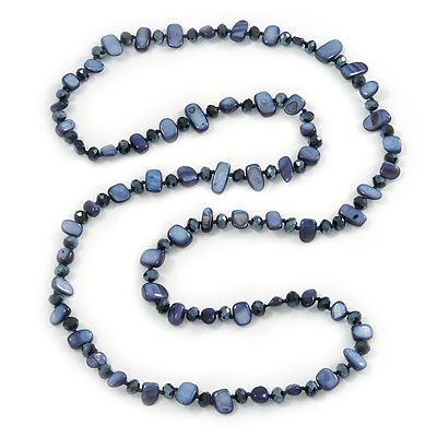 Long Dark Blue Shell Nugget and Glass Crystal Bead Necklace - 110cm L - main view