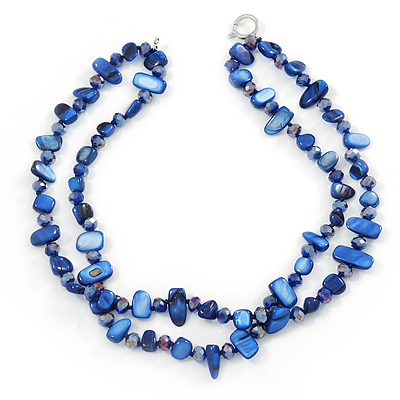 Two Row Blue Shell And Glass Bead Necklace - 44cm L/ 6cm Ext - main view