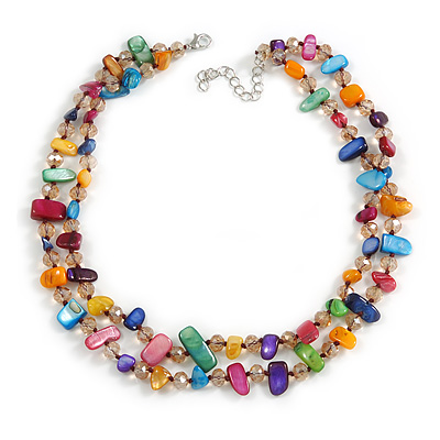 Two Row Multicoloured Shell Nugget and Nude-coloured Glass Crystal Bead Necklace - 44cm L/ 6cm Ext - main view