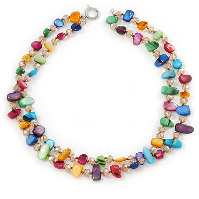 Two Row Multicoloured Shell Nugget and Nude-coloured Glass Crystal Bead Necklace - 44cm L/ 6cm Ext