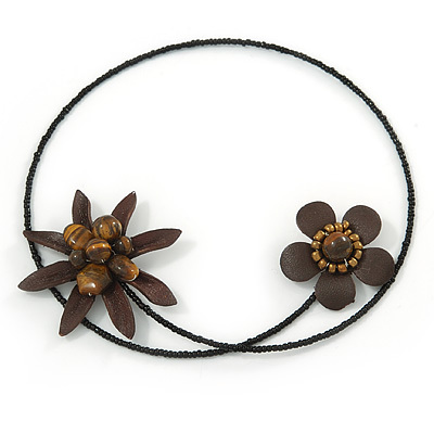 Brown Leather Semiprecious Stone Double Flower, Black Glass Bead Flex Wire Choker Necklace - Adjustable