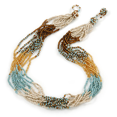 Multistrand Light Blue/Gold/ Antique White/ Brown Glass Bead Necklace - 50cm L - main view