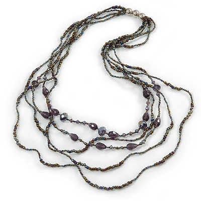 Long Multistrand Layered Glass Bead Necklace (Peacock/ Purple) - 96cm L