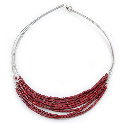 Silver Tone Multistrand Wire Necklace with Garnet Red Acrylic Beads - 52cm L