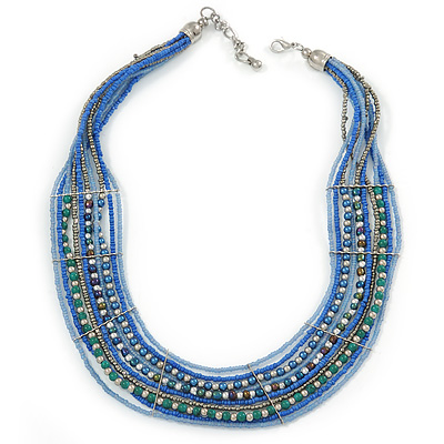 Multistrand Blue/ Teal Glass Bead Collar Style Necklace In Silver Tone Metal - 42cm L/ 4cm Ext - main view