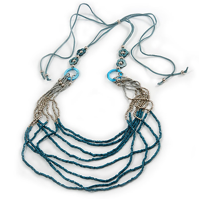 Long Multistrand Stone, Glass Bead, Sea Shell with Suede Cord Necklace (Light Blue, Grey, Teal) - 110cm L/ 120cm L- Adjustable