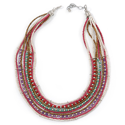 Multistrand White/ Raspberry/ Purple/ Turquoise Glass Bead Collar Style Necklace In Silver Tone Metal - 42cm L/ 4cm Ext - main view