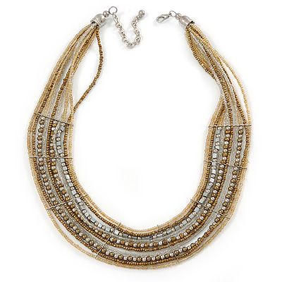 Multistrand Bronze/ Metallic Silver/ Transparent Glass Bead Collar Style Necklace In Silver Tone Metal - 42cm L/ 4cm Ext - main view