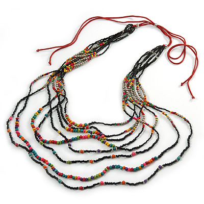 Long Multistrand, Layered Multicoloured Wood and Glass Bead Necklace with Red Suede Cord - Adjustable - 115cm/ 140cm L