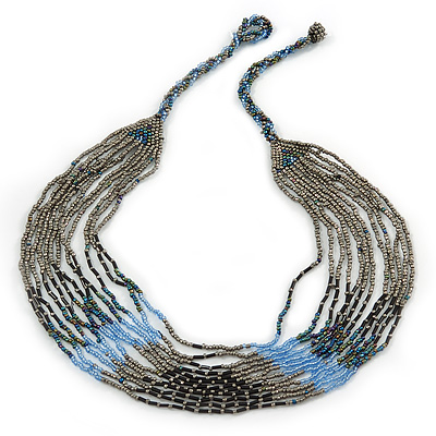 Multistrand Layered Beige/ Light Blue/ Black Glass Bead Necklace With Button & Loop Closure - 70cm L