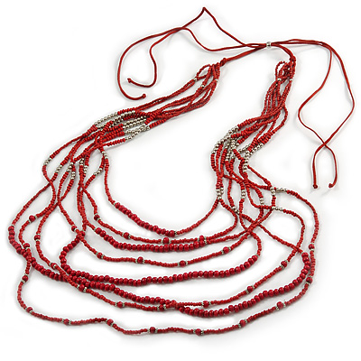 Long Multistrand, Layered Red Wood/ Glass Bead Necklace with Red Suede Cord - Adjustable - 120cm/ 140cm L